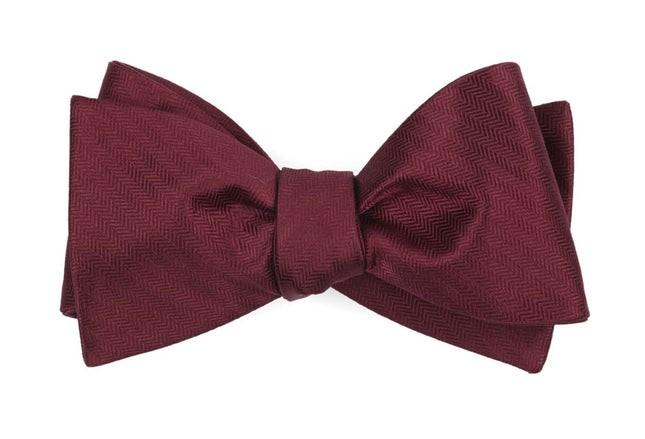Sound Wave Herringbone Burgundy Bow Tie