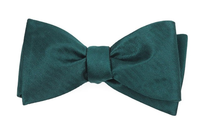 Sound Wave Herringbone Hunter Green Bow Tie