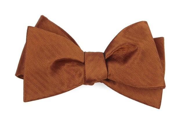Sound Wave Herringbone Burnt Orange Bow Tie