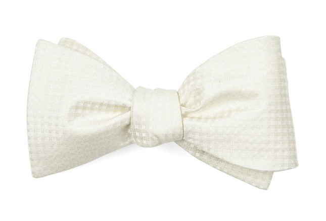 Be Married Checks Ivory Bow Tie