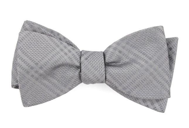Jazz Plaid Silver Bow Tie