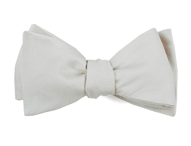 Grosgrain Solid White Bow Tie
