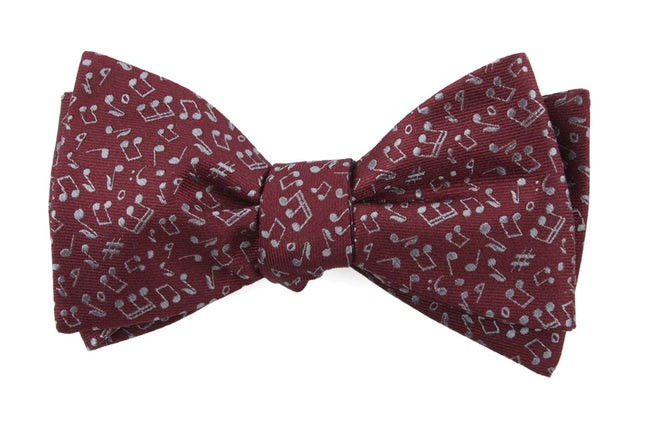 Music Notes Burgundy Bow Tie