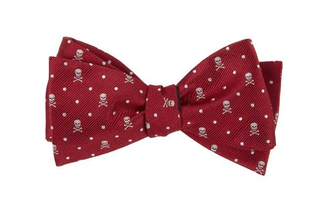 Skull Dots Apple Red Bow Tie
