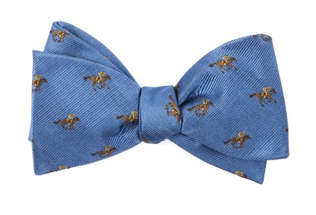 Horse Racing Light Blue Bow Tie