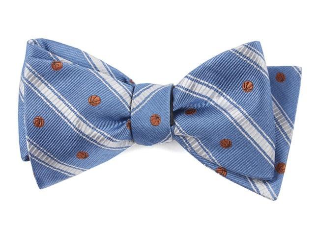 Basketball Stripe Slate Blue Bow Tie