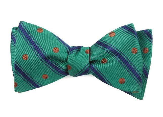 Basketball Stripe Kelly Green Bow Tie