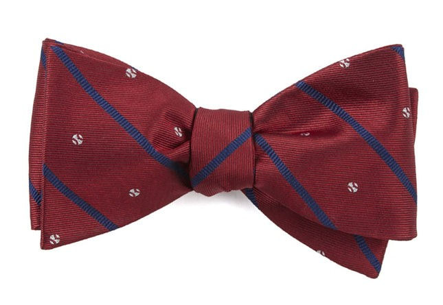 Baseball Stripe Red Bow Tie