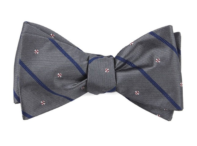 Baseball Stripe Grey Bow Tie