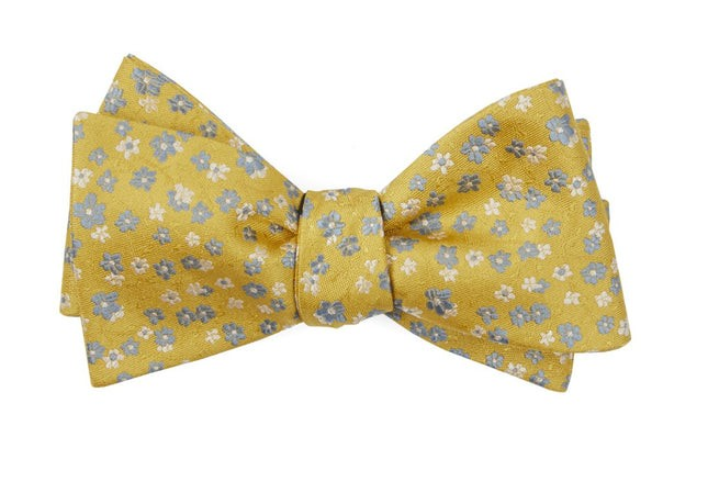 Free Fall Floral Yellow Gold Bow Tie
