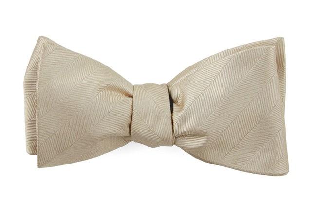 Herringbone Vow Light Champagne Bow Tie