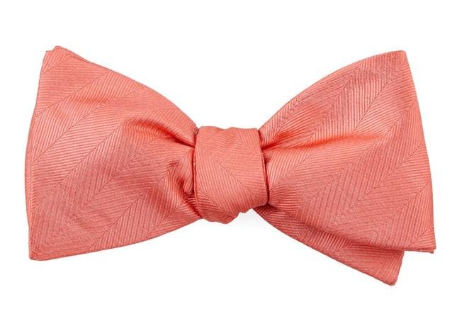 Herringbone Vow Coral Bow Tie