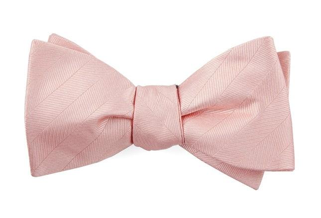 Herringbone Vow Blush Pink Bow Tie