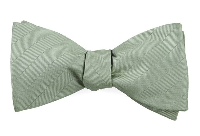 Herringbone Vow Sage Green Bow Tie