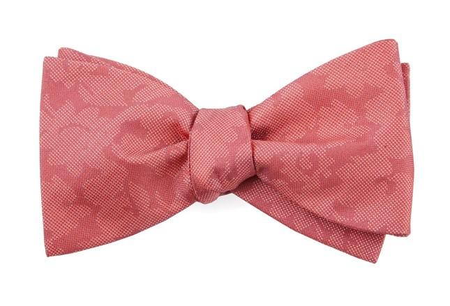 Refinado Floral Coral Bow Tie