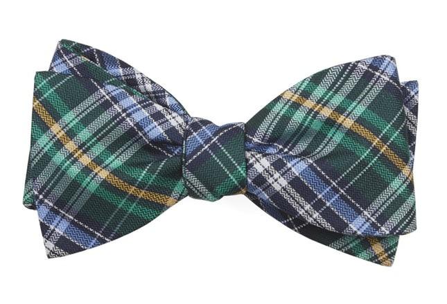 Motley Plaid Green Bow Tie