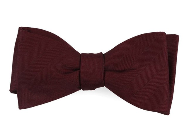 Herringbone Vow Wine Bow Tie