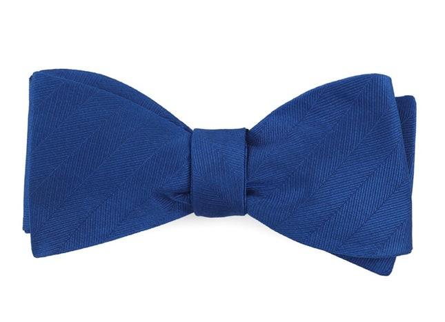 Herringbone Vow Royal Blue Bow Tie