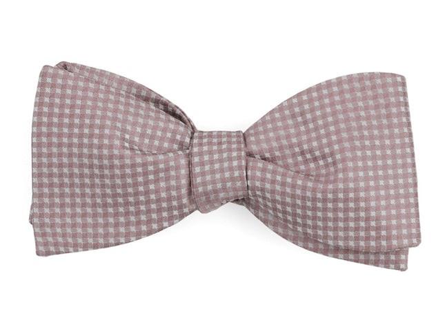 Be Married Checks Mauve Stone Bow Tie