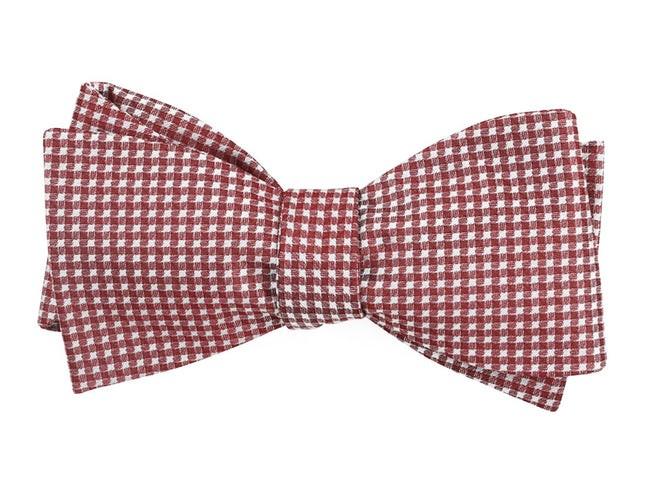 Be Married Checks Burgundy Bow Tie