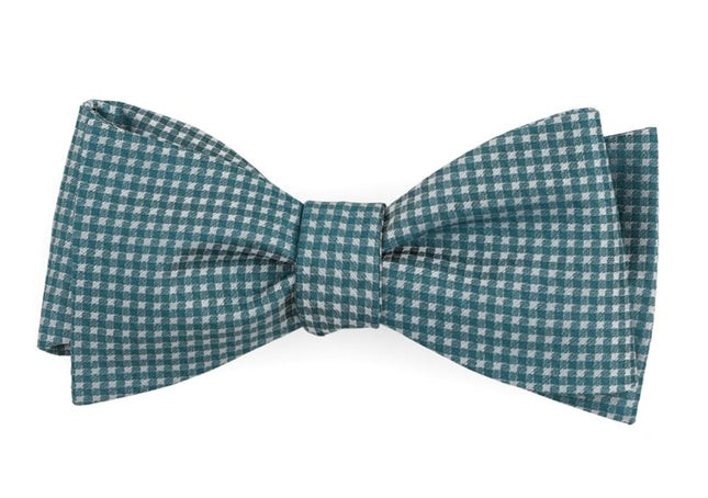 Be Married Checks Teal Bow Tie