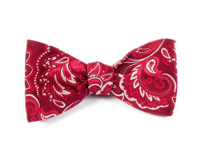 Organic Paisley Burgundy Bow Tie