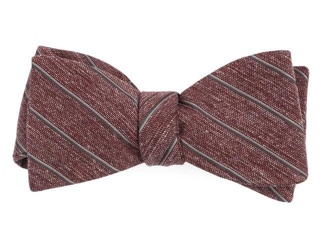 Pike Stripe Burgundy Bow Tie