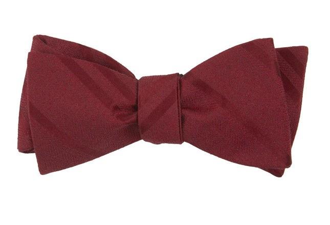 Wool Path Stripe Burgundy Bow Tie