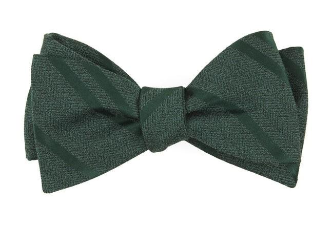Wool Path Stripe Hunter Green Bow Tie