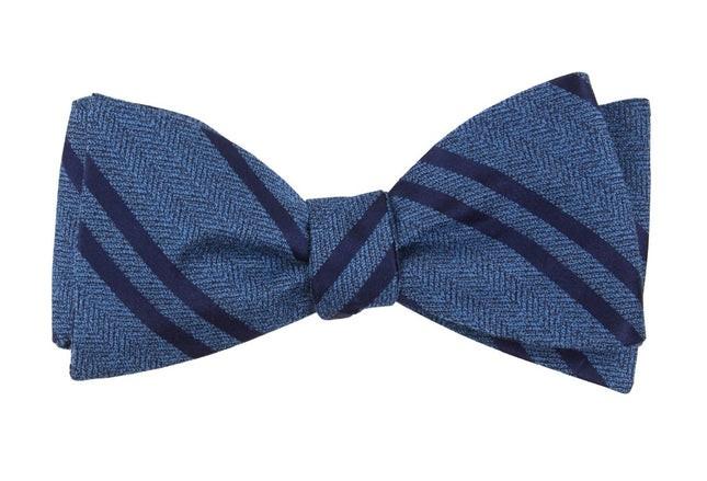Wool Path Stripe Serene Blue Bow Tie