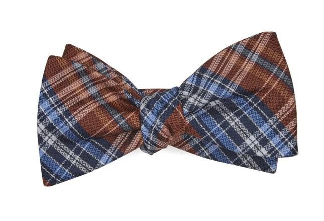 Motley Plaid Orange Bow Tie