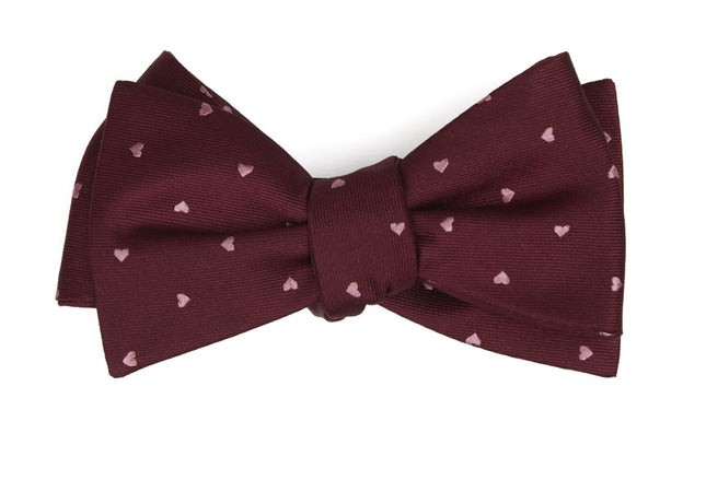 Heart To Heart Burgundy Bow Tie
