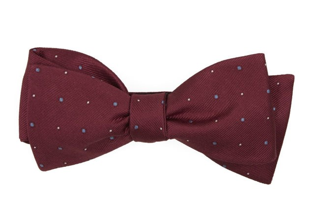 Delisa Dots Burgundy Bow Tie