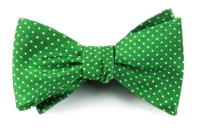 Pindot Kelly Green Bow Tie