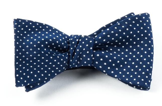 Pindot Navy Bow Tie