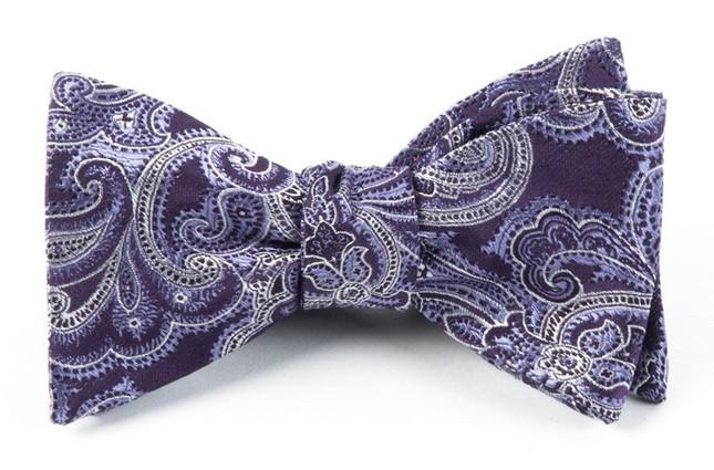 Designer Paisley Eggplant Bow Tie