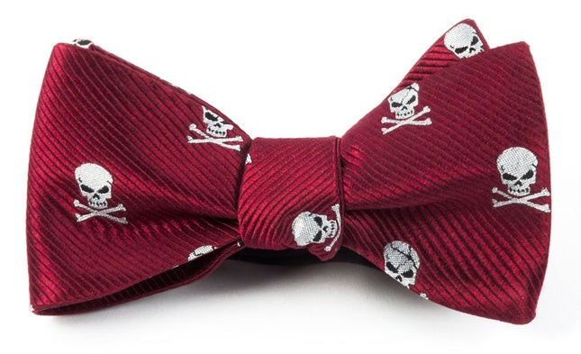 Skull And Crossbones Red Bow Tie
