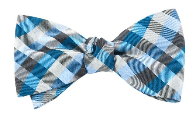 Colorful Gingham Blues Bow Tie
