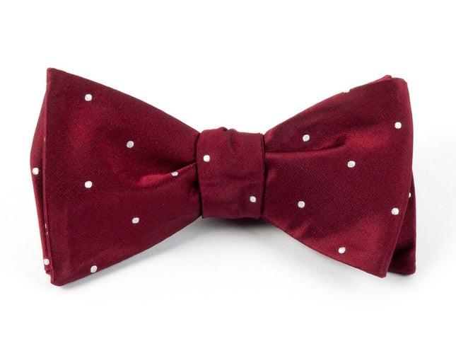 Satin Dot Burgundy Bow Tie