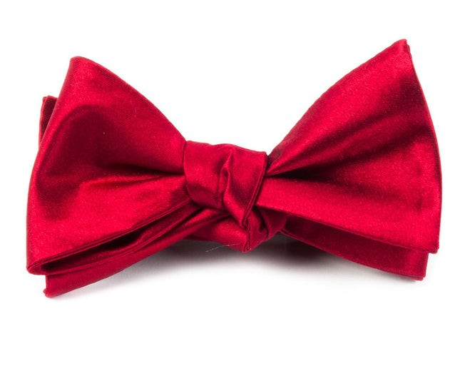 Solid Satin Apple Red Bow Tie