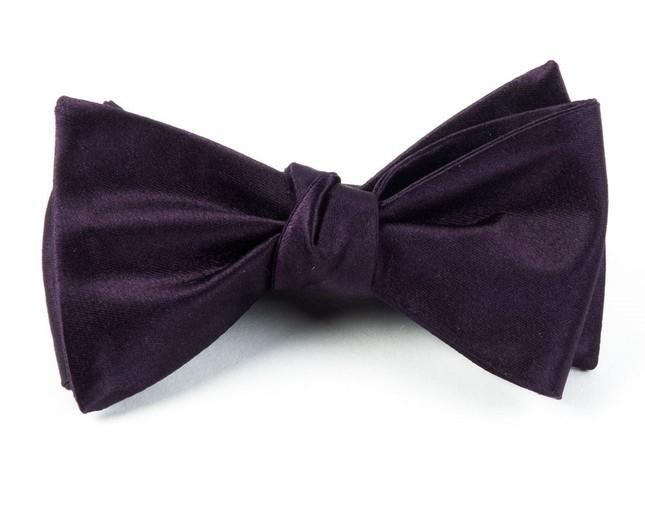 Solid Satin Eggplant Bow Tie