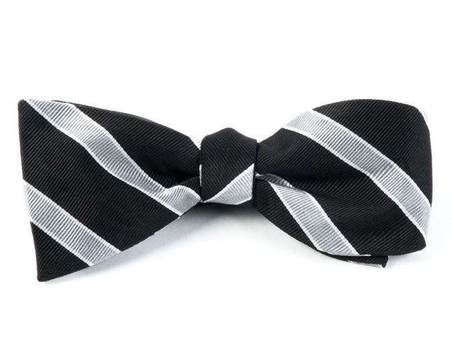 Honor Stripe Black Bow Tie