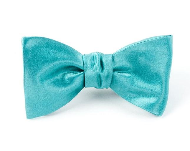 Solid Satin Aqua Bow Tie