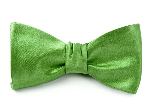 Solid Satin Apple Green Bow Tie