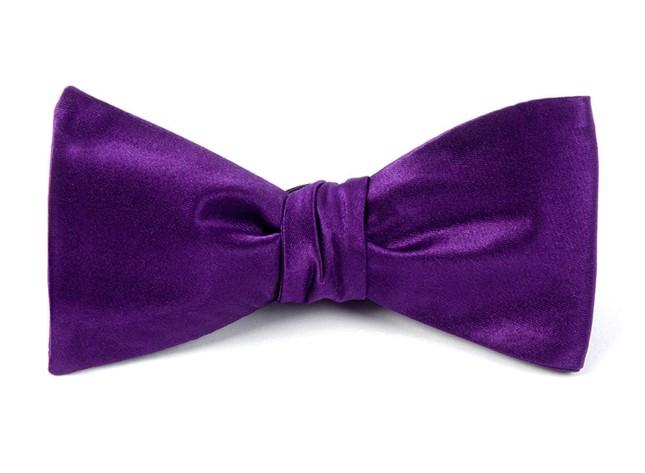 Solid Satin Plum Bow Tie