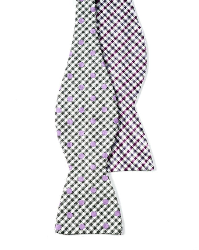 Memphis By Beale St. Dotted Plaid By Dwyane Wade Silver Bow Tie