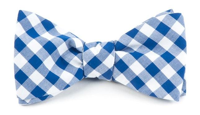 Cotton Table Plaid Royal Blue Bow Tie