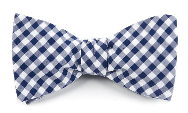 New Gingham Navy Bow Tie