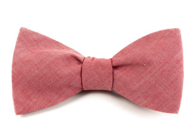 Classic Chambray Red Bow Tie