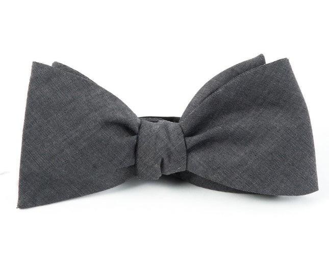 Classic Chambray Warm Grey Bow Tie